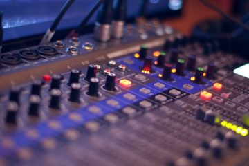 turned on audio mixing console